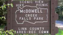 McDowell Creek Falls signboard