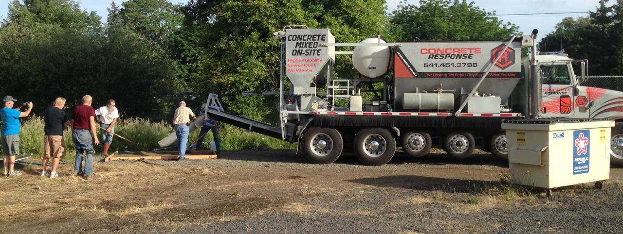 Mix-on-site concrete truck