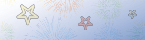 Drawing of fireworks with a white and blue background