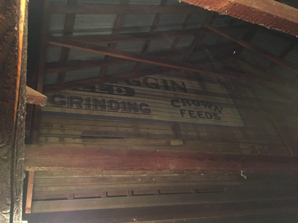 Sign inside Scroggins Mill.