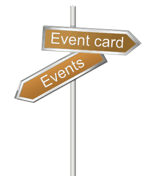 Arrow signboard pointing to event calendar and events