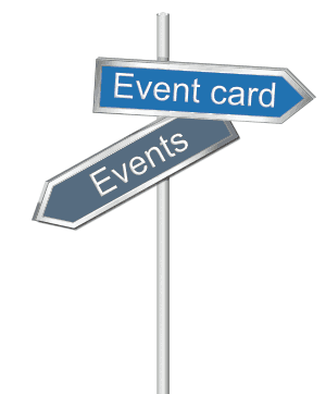 Arrows pointing to calendar on right and events on lower left