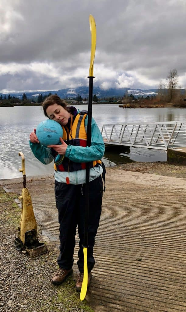 2019-03-09 Cheadle Lake Paddle Clare with found objects