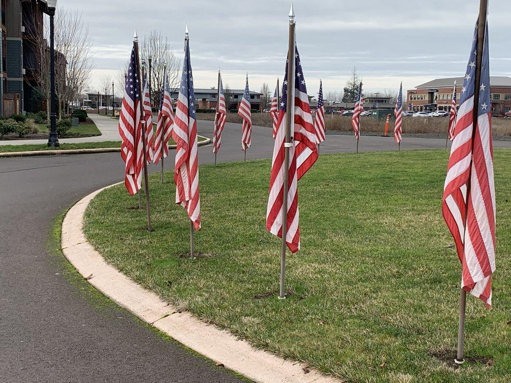 Circle of Flags near Boulder Falls Inn