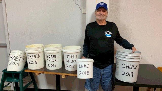 2019 Bucket Brigade tree watering winner Chuck Watts